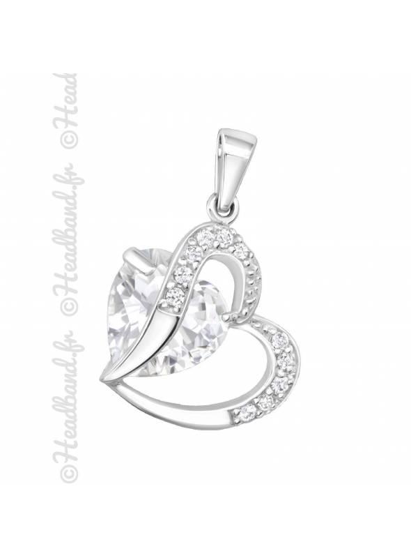 Pendentif femme coeur et cristaux en argent 925