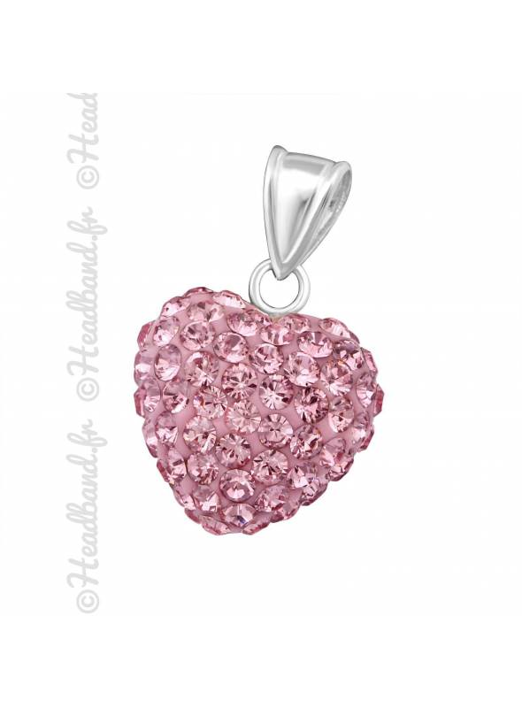 Pendentif coeur boule strass rose argent 925