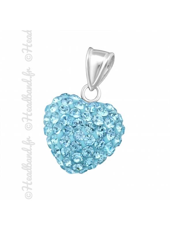 Pendentif coeur boule strass bleu argent 925