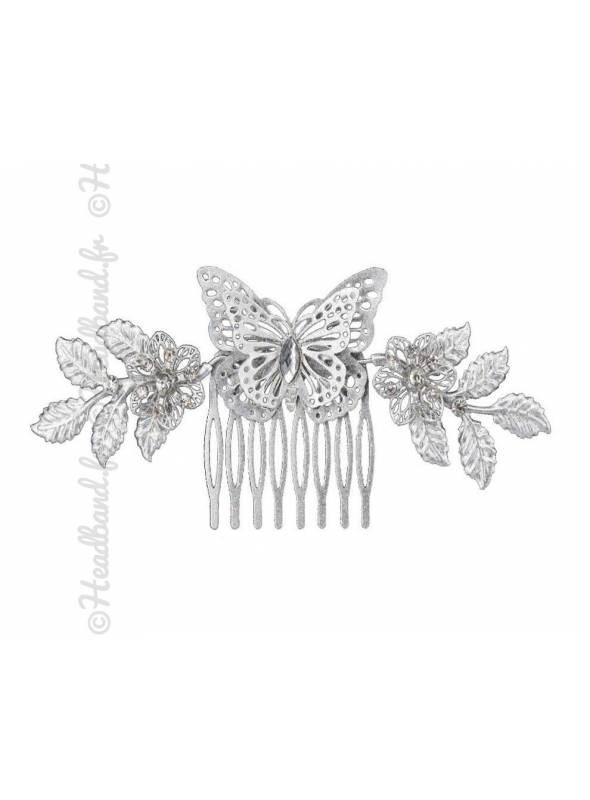 Peigne papillon feuilles et cristaux glitter argenté