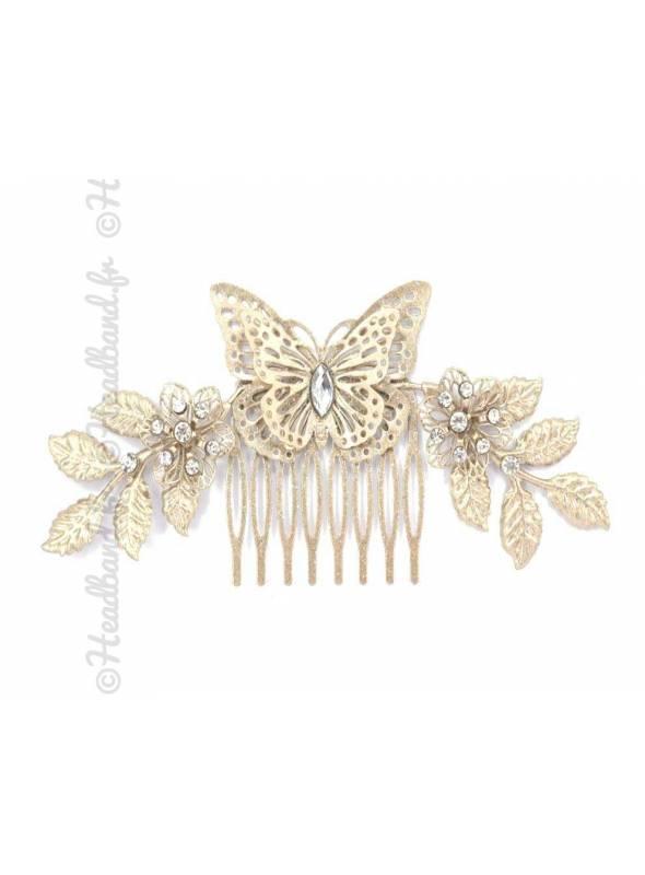 Peigne papillon feuilles et cristaux glitter doré
