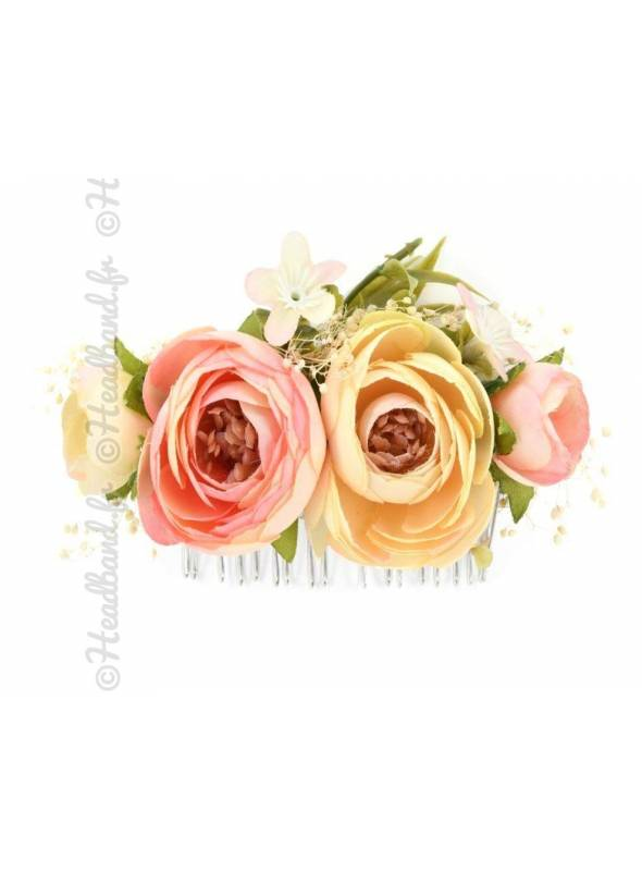 Peigne demoiselle d'honneur fleur rose pâle
