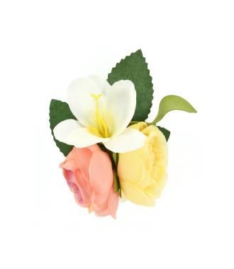 Barette fleur demoiselle d'honneur corail et jaune