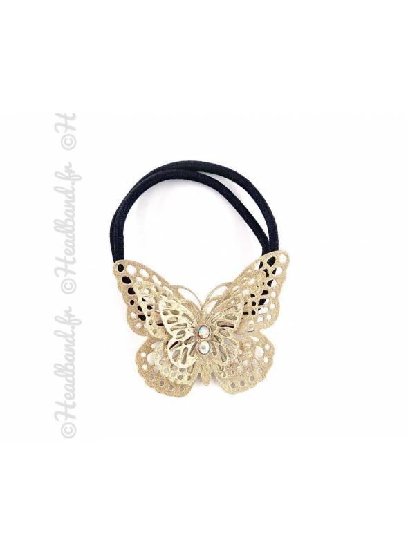 Elastique papillon métallisé doré