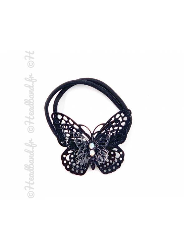 Elastique papillon métallisé noir