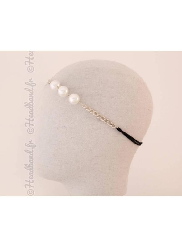 Bijou de tête chaîne avec 3 perles doré
