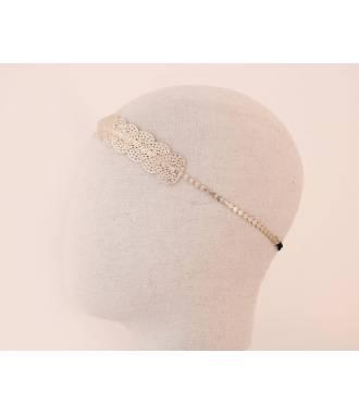 Bijou de tête chaîne et formes métal doré