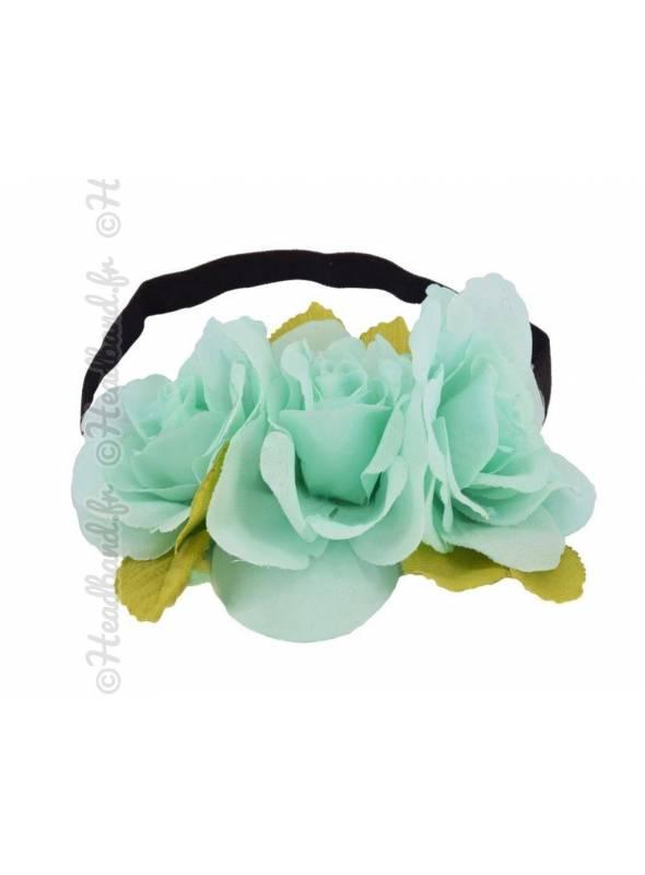 Bandeau maxi-fleurs couronne turquoise
