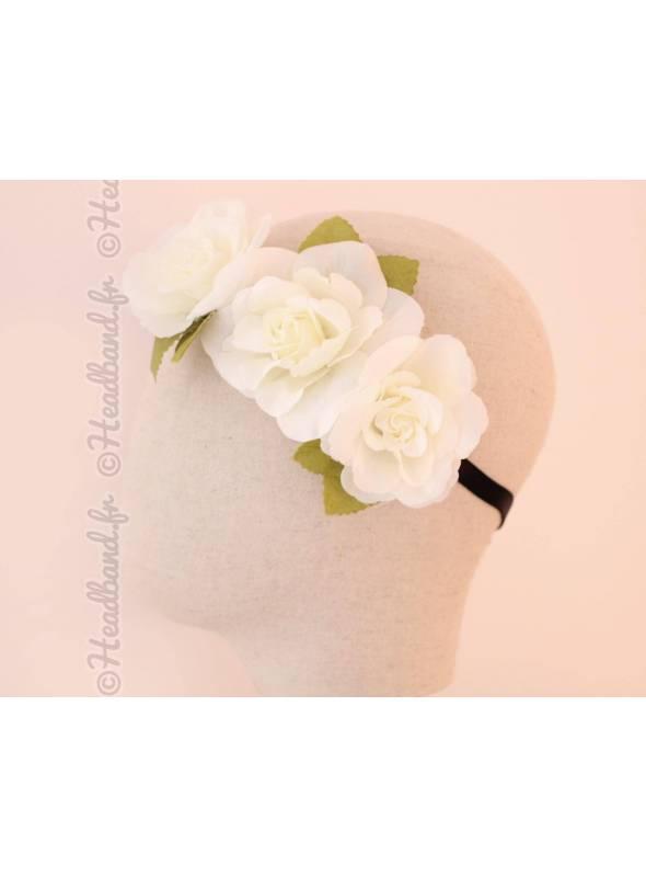 Bandeau maxi-fleurs couronne crème