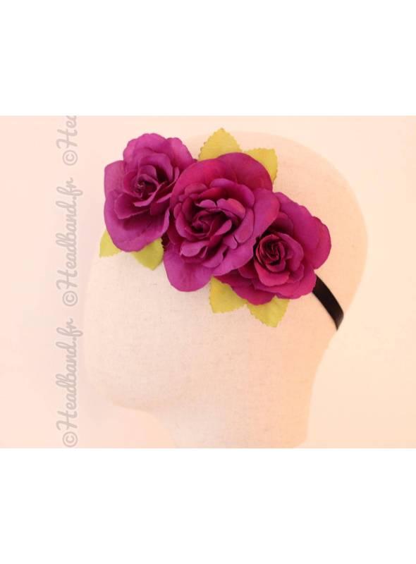 Bandeau maxi-fleurs couronne violet foncé