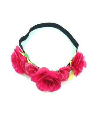 Bandeau 5 fleurs bohème rose fushia