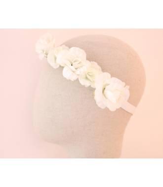 Bandeau 5 fleurs bohème crème