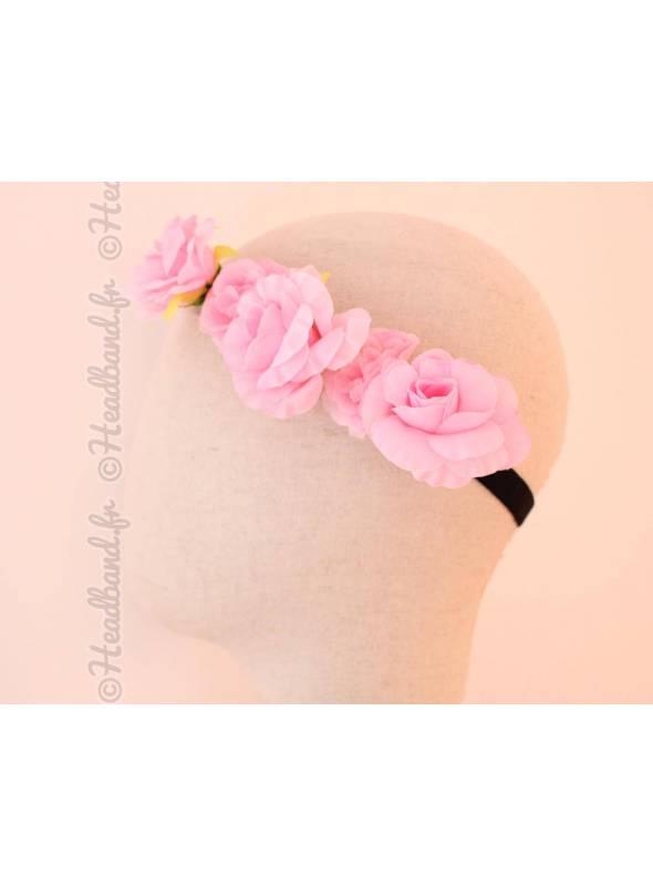 Bandeau 5 fleurs bohème rose clair