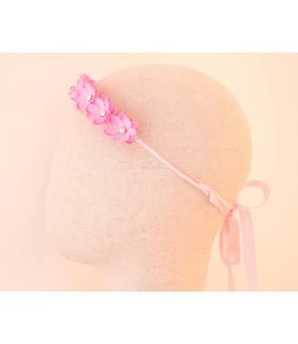 Serre-tête fleurs fillette mariage rose à nouer