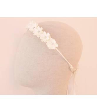 Serre-tête fleurs fillette mariage blanc à nouer