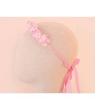 Serre-tête enfant cérémonie rose fleurs et cristaux