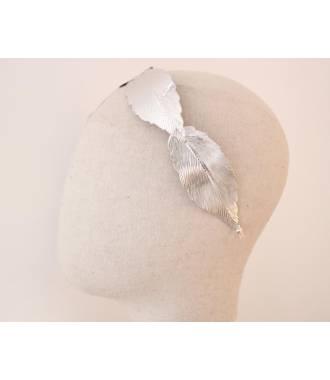 Serre-tête maxi-feuilles en métal argenté