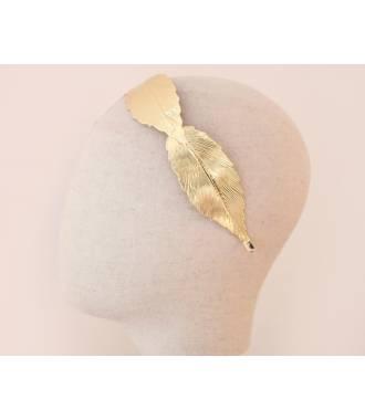 Serre-tête maxi-feuilles en métal doré