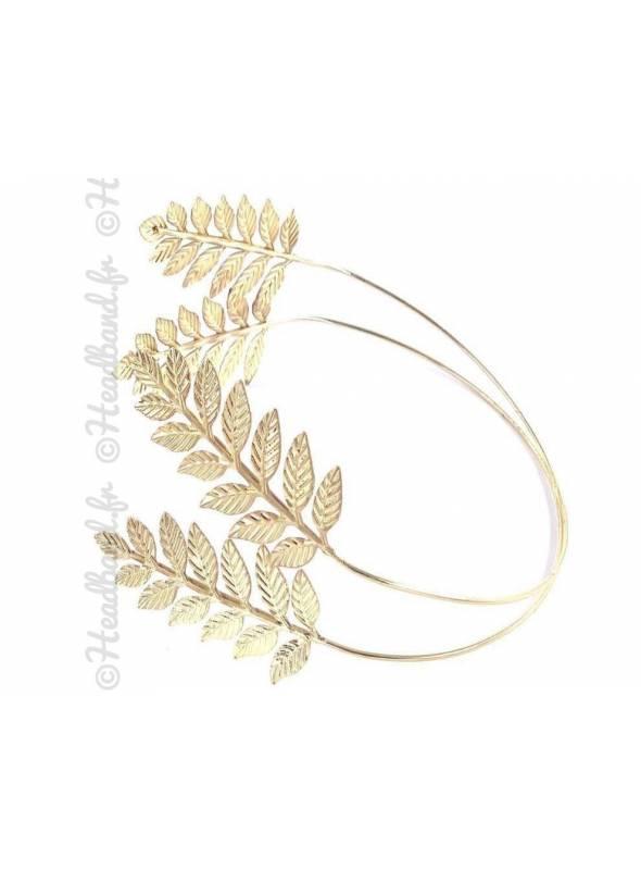 Diadème feuilles César inversé en métal doré