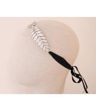 Headband feuilles ruban noir en métal argenté