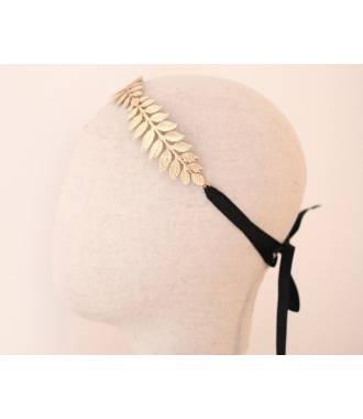 Headband feuilles ruban noir en métal doré