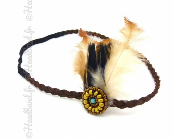 Headband plumes marron