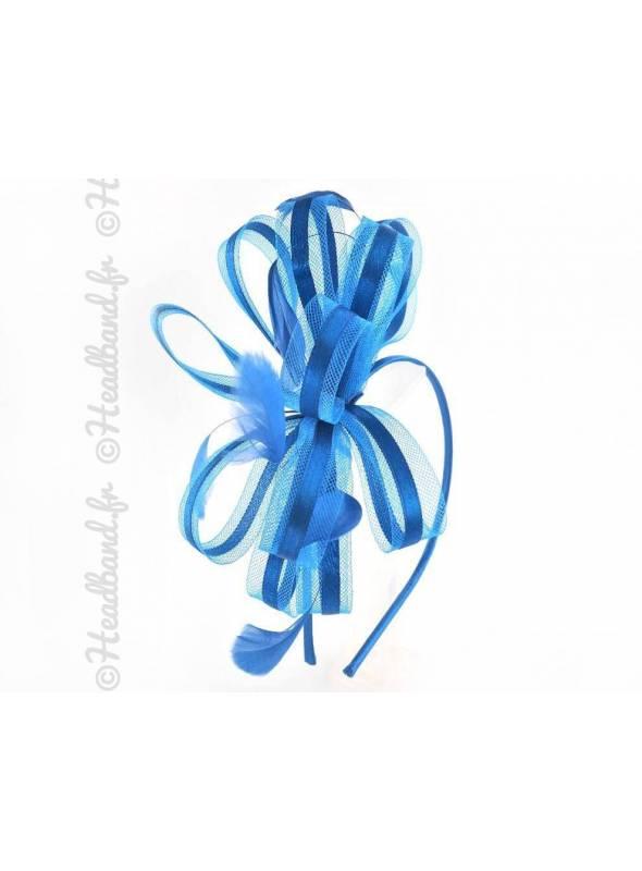 Serre-tête habillé en plumes et ruban tulle bleu