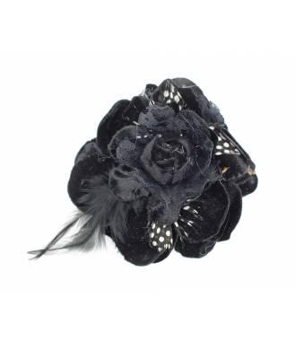 Bibi fleur à plumes avec pince noir