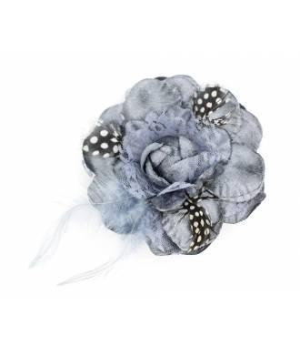 Bibi fleur à plumes avec pince gris
