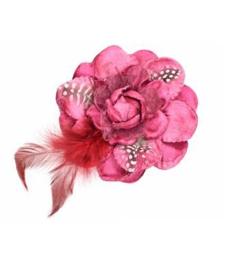 Bibi fleur à plumes avec pince bordeaux