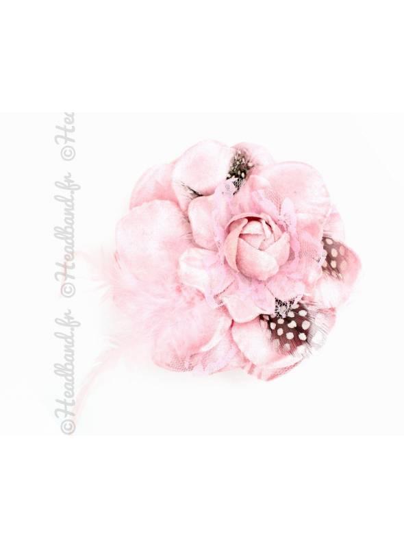 Bibi fleur à plumes avec pince rose