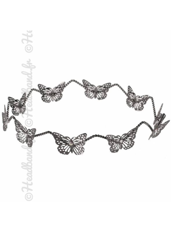 Couronne enfant en métal papillons gris
