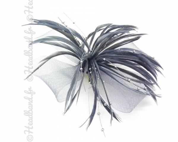 Barrette bibi plumes gris