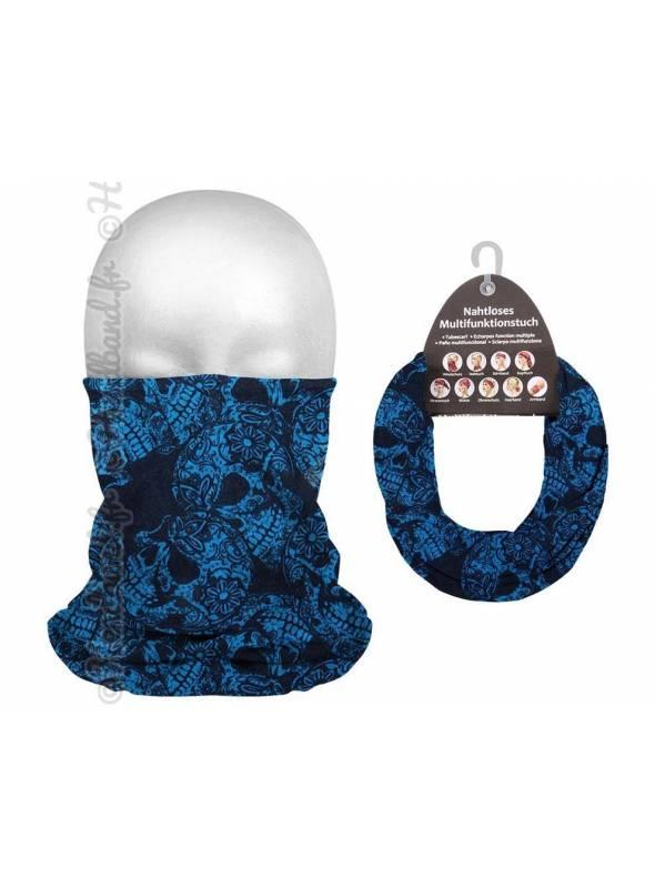 Headband running femme motif skull bleu