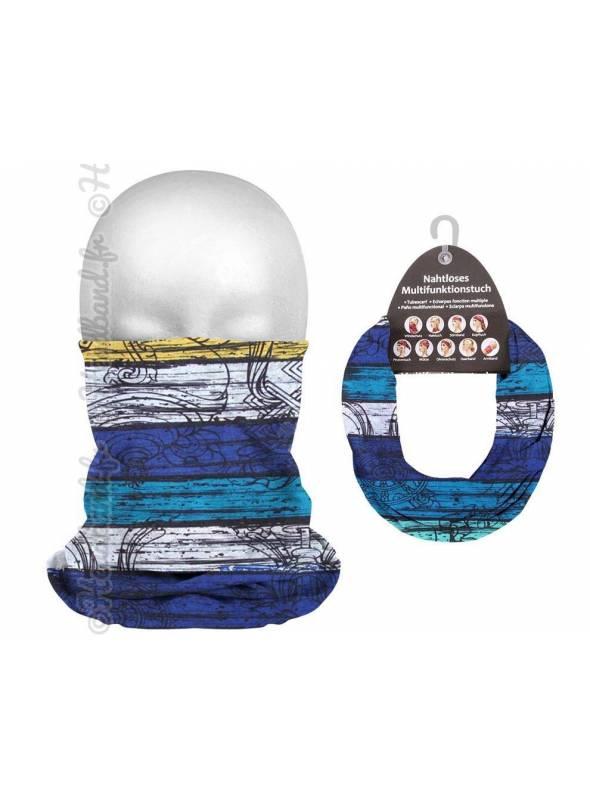Headband tube unisexe bandes bleu et blanc