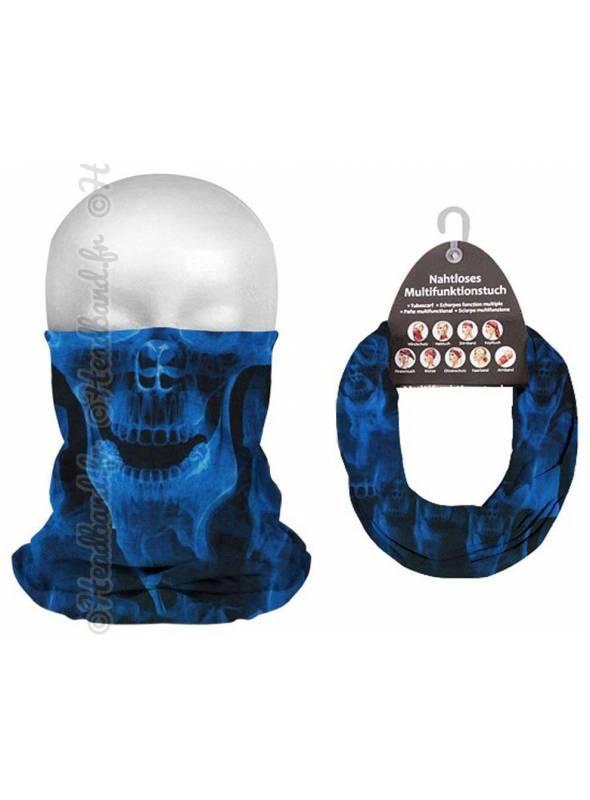 Headband tube homme crâne néon bleu