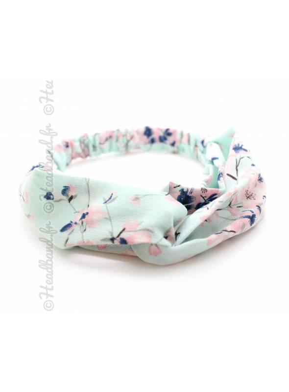 Bandeau croisé motifs fleurs cerisiers vert