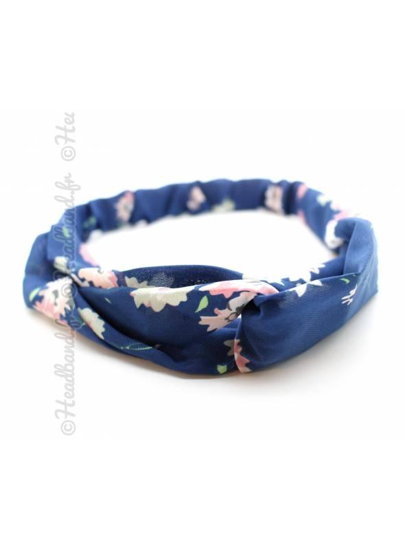 Turban croisé estival fleuri bleu