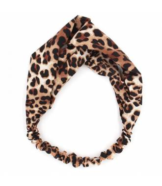 Bandeau turban croisé léopard