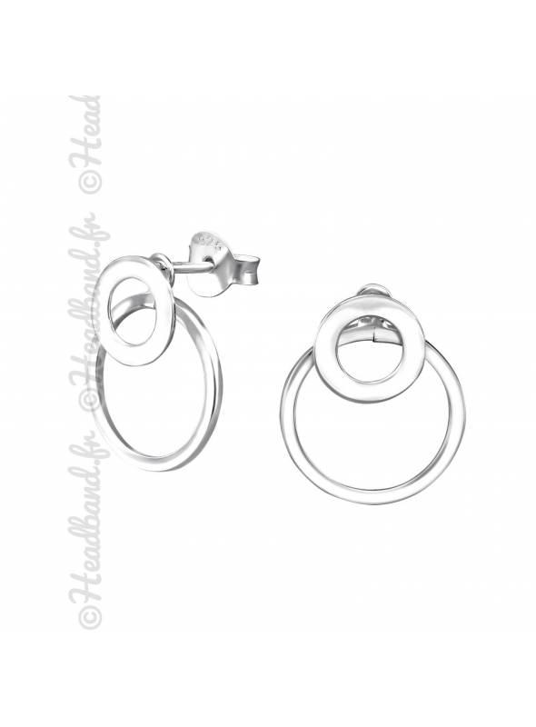 Boucles puces double cercle en argent