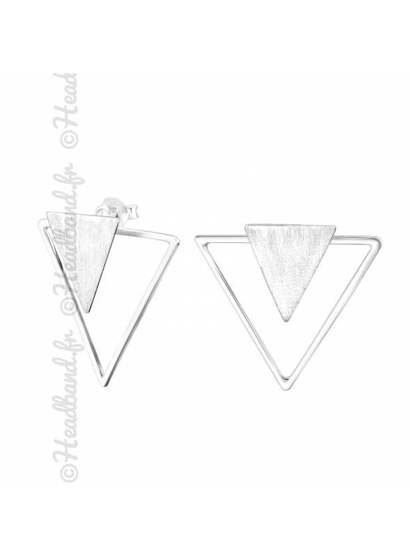 Boucles puces triangle double en argent