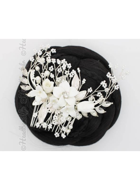Peigne argenté avec fleurs blanches Jeanne