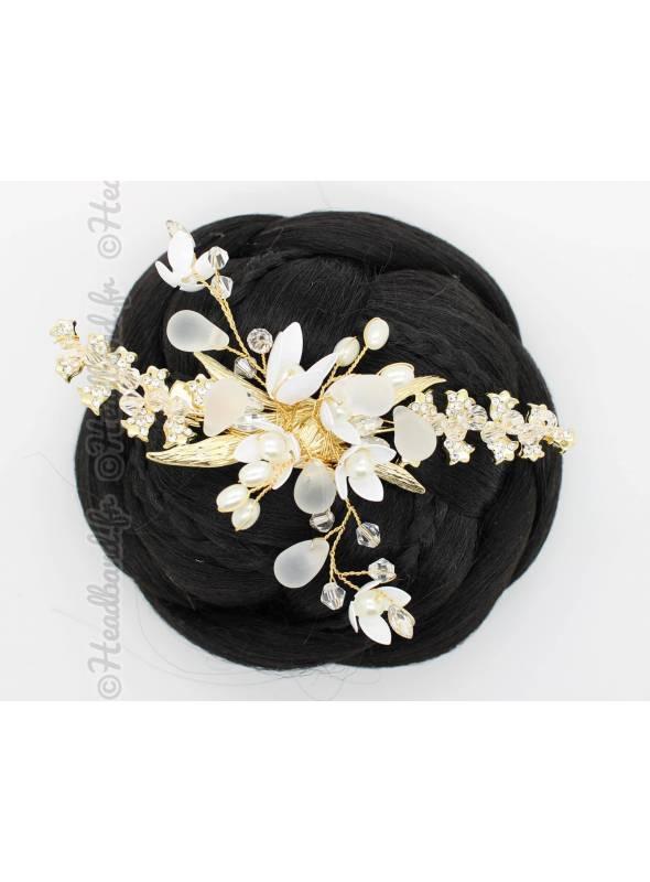 Barrette doré mariée fleurs blanches Tiziana