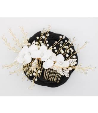 Peigne fleurs en perles Aloé