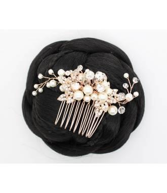 Peigne doré avec perles blanches Scarlette