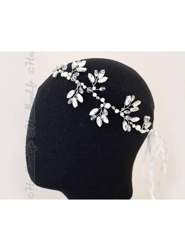 Tour de tête perles et cristaux épi Irina