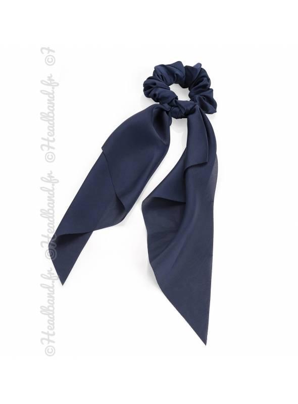 Chouchou foulard bleu marine en satin
