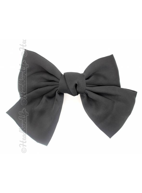 Maxi-barrette cheveux noeud satin noir