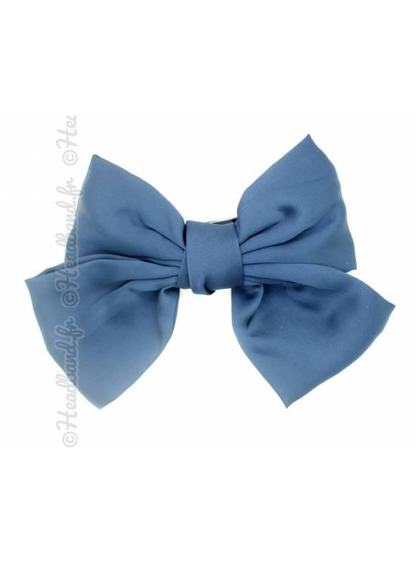 Maxi-barrette cheveux noeud satin bleu
