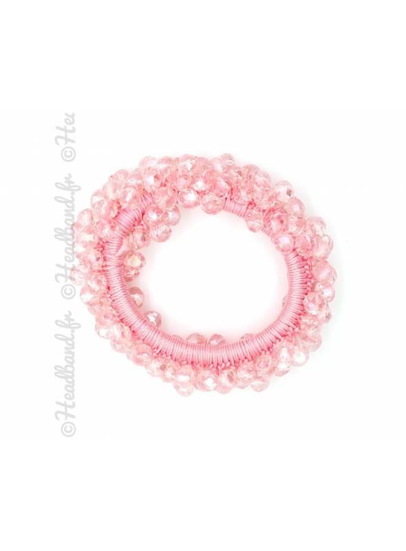 Chouchou cheveux en perles rose